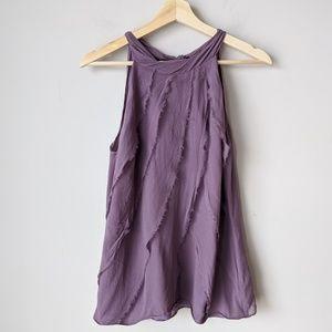 Ann Taylor Purple Sleeveless 100% Silk Blouse Med